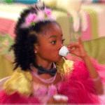 Black girl drinking tea Black Twitter meme template blank radial blur