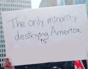 The only minority destroying America is (blank) Opinion meme template