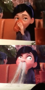 Violet drink coming out of nose Pixar meme template