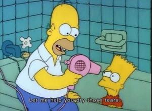 Let me help you dry those tears Bart meme template