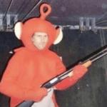 Teletubby holding shotgun Guns meme template blank