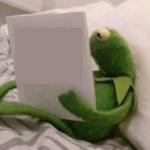 Kermit reading book  meme template blank Frog