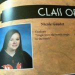 "depression-memes depression text: CLAS O Nicole Gaudet Graduate ""Single from the womb, single sto the tomb.""  depression"