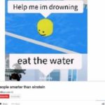 other-memes cute text: Help me im drowning eat the water top ten people smarter than einstein  cute