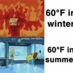 spongebob-memes spongebob text: 600F in winter 600F in summer  spongebob