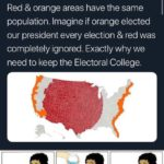 political-memes political text: Liz Wheeler O Replying to @BernieSanders Red & orange areas have the same population. Imagine if orange elected our president every election & red was completely ignored. Exactly why we need to keep the Electoral College.  political