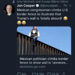 political-memes political text: Amy McGrath and Alyssa Milano follow Jon Cooper @joncooper... 7h v Mexican congressman climbs U.S. border fence to illustrate that Trump