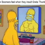 political-memes political text: How Boomers feel when they insult Greta Thunberg  political