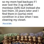 wholesome-memes cute text: r/ mildlyinteresting u/Bradgun218 • 27m so my mom had backups if I ever lost the 3 og stuffed monkeys (left) but instead she lost them. 15 years later and I find them in (sorta) mint condition in a box when I was cleaning my closet. Pics & Gifs  cute