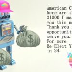 yang-memes automation-and-ai text: American Citizen, here are the $ 1000 1 made for you this month. Thank you for the opportunity to serve you. For more Re—Elect Yang in 24.  automation-and-ai