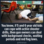 political-memes political text: You know, if 5 and 6 year old kids can cope with active shooter drills, then gun owners can deal with background checks, waiting periods and red flag laws. @Abraxsys  political