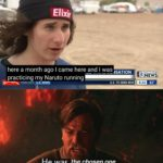 dank-memes cute text: Elixir here a month ago I came here and I was - - -ASATION - FORECASTSIU.S. NEWS] NEWS U.s. TO SEND MOF I He was the chosen one.  Dank Meme