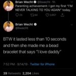 """wholesome-memes cute text: Brian Wecht @bwecht • lh Parenting achievement: I got my first """"I"""