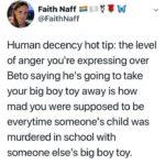 political-memes political text: Faith Naff @FaithNaff Human decency hot tip: the level of anger you
