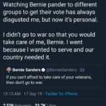 political-memes political text: Dan Crenshaw O @DanCrenshawTX Watching Bernie pander to different groups to get their vote has always disgusted me, but now it