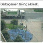 wholesome-memes cute text: Garbagemen taking a break.  cute