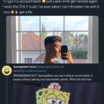 spongebob-memes spongebob text: James Charles O @jamescharles hi I got my account back just case I ever get hacked again, here