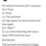 political-memes political text: Nick Jack Pappas O @Pappiness Ed: Where should we eat? I say pizza. Ann: Pizza! Ty: Pizza! Liz: This old shoe! Ed: Ugh, guess we have to eat an old shoe again. Ann: Why?? Ty: Liz is from Wyoming. Her vote is worth 3.6X more than ours. [End Scene] This has been the Electoral College. 7:15 PM • 7/19/19 • Twitter for Android  political