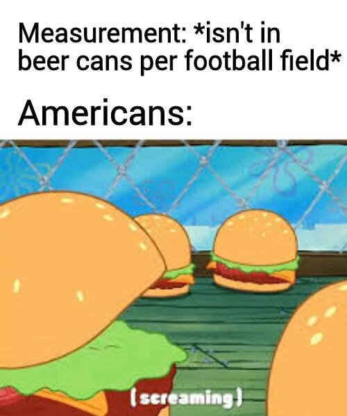 spongebob spongebob-memes spongebob text: Measurement: *isn't in beer cans per football field* Americans: