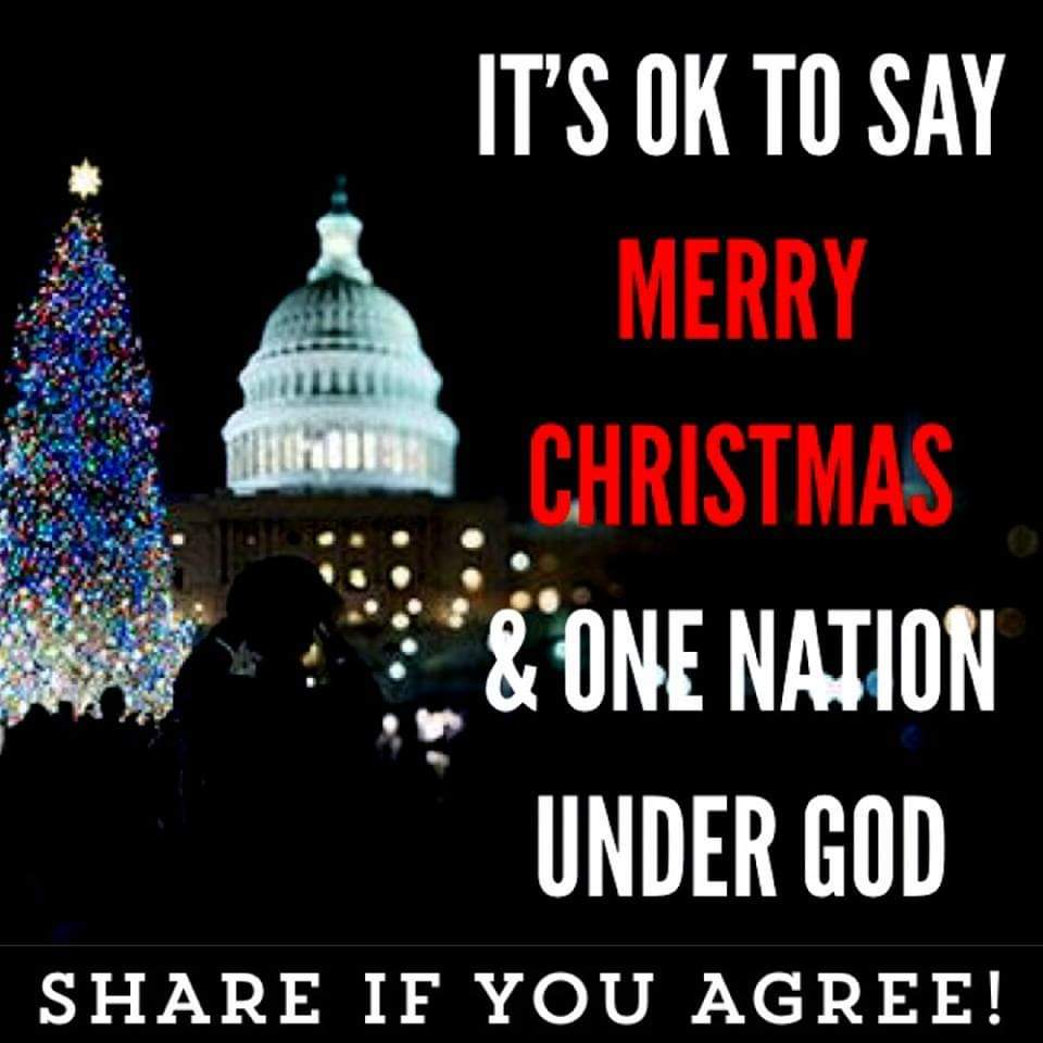 political political-memes political text: IT'S OK TO SAY MERRY NATION UNDER GOD SHARE IF YOU AGREE!