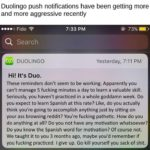 depression-memes depression text: Duolingo push notifications have been getting more and more aggressive recently Fido Search Z DUOLINGO Hi! It