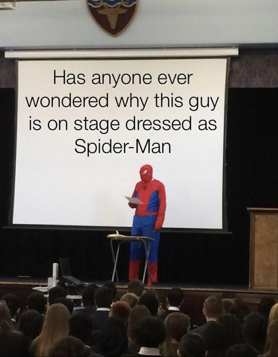 cute other-memes cute text: Has anyone ever wondered why this guy is on stage dressed as Spider-Man