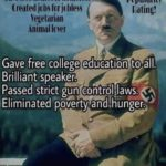 political-memes political text: HE R SOCIALIST Created uniu•rsal health care C free hcmes tc hcmeless Created jcbs for bless Vegetarian Animal loer Popularity [dtinq! Gave free college education to åll. Brilliant speaker. Passed