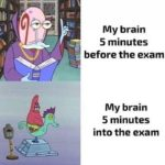 spongebob-memes spongebob text: My brain 5 minutes before the exam My brain 5 minutes into the exam  spongebob