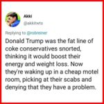 political-memes political text: Akki @akkitwts Replying to @robreiner Donald Trump was the fat line of coke conservatives snorted, thinking it would boost their energy and weight loss. Now they