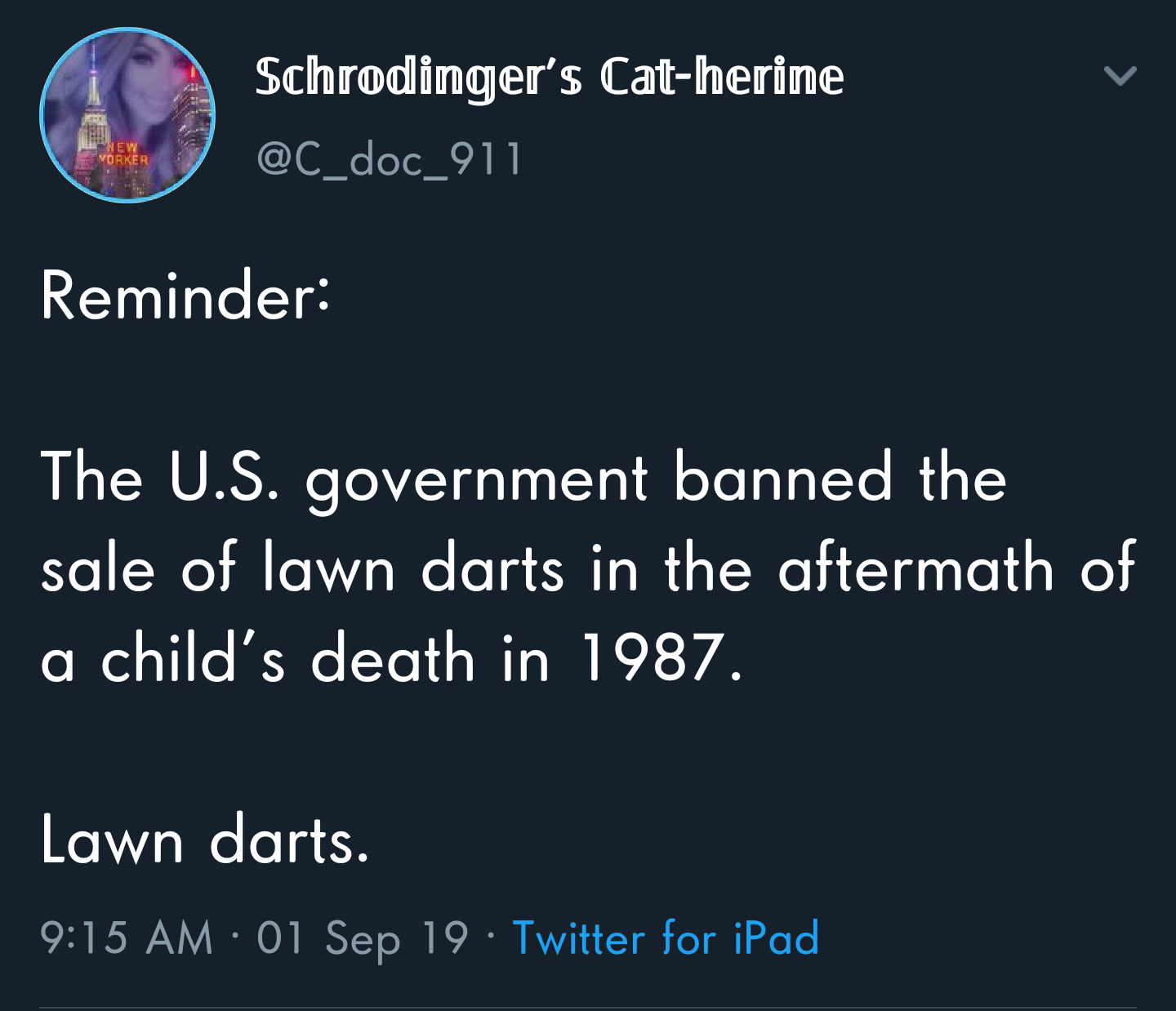 political political-memes political text: Schrodånger's Cat-heråne doc 911 Reminder: The U.S. government banned the sale of lawn darts in the aftermath of a child's death in 1987. Lawn darts. 9:15 AM • 01 Sep 19 • Twitter for iPad