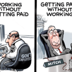 political-memes political text: WORKiNG WiTHOUT GeTTiNG PAiD GOV 1 EMPLOYEES GeTTiNG PAiD WiTHOUT WORKiNG VOTE TO ENO SHUT DOWN  political