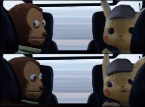 Monkey and Pikachu looking at each other Pokemon meme template