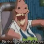 Patrick high pitched demon screeching Spongebob meme template blank