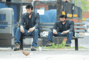 Big and small Keanu Reeves on a bench Keanu meme template