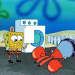 Mr. Krabs fainting after Spongebob shows him something Spongebob meme template blank