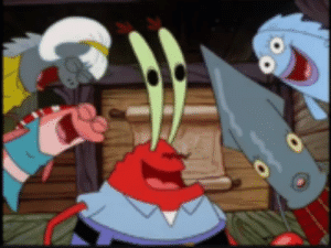 Mr Krabs and other fish laughing Spongebob meme template