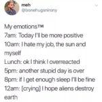 depression-memes depression text: meh @bonehugsnirony My emotionsTM 7am: Today I