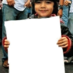 Kid holding sign Holding Sign meme template blank