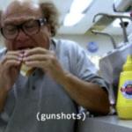 Frank eating (gunshots) Always Sunny meme template blank