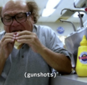 Frank eating (gunshots) Always Sunny meme template