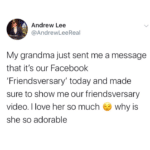 wholesome-memes cute text: Andrew Lee @AndrewLeeReal My grandma just sent me a message that it