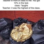 other-memes dank text: Teacher in front of class to me: You got 10% in the test. class: *laughs Teacher: it was the highest of the class.  Dank Meme, School, Trash, Garbage, Teacher, Golden