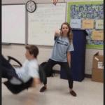 Girl whipping while boy falls Dancing meme template blank