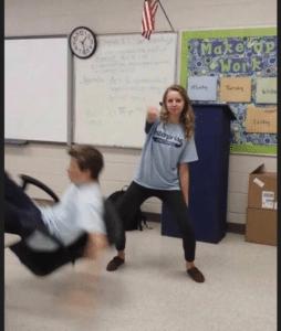 Girl whipping while boy falls Dancing meme template