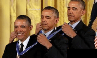 Three Obamas Giving Themselves Medals Obama Himself Medal Award Political Freshmemetemplates