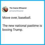 political-memes political text: The Hoarse Whisperer @HoarseWisperer Move over, baseball. The new national pastime is booing Trump.  political