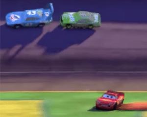 Lightning McQueen losing race Pixar meme template