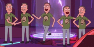 Jerry celebrating himself Rick and Morty meme template