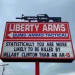 political-memes political text: Molon Labe LIBERTY ARMS GUNS.AMMO•TACTICAL STATISTICALLHOIJ ARE MORE LIKELY TO BE KILLED BY HILLARY CLINTON THAN AN AR-IS  political