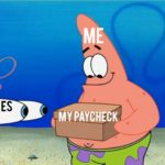 spongebob-memes spongebob text: TAXES tMYPAYCHECK  spongebob